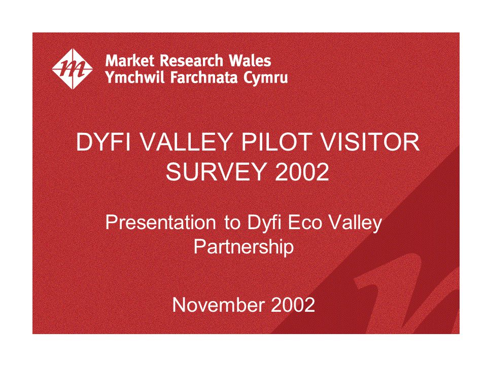 DYFI VALLEY PILOT VISITOR SURVEY 2002 Presentation to Dyfi Eco Valley Partnership November 2002