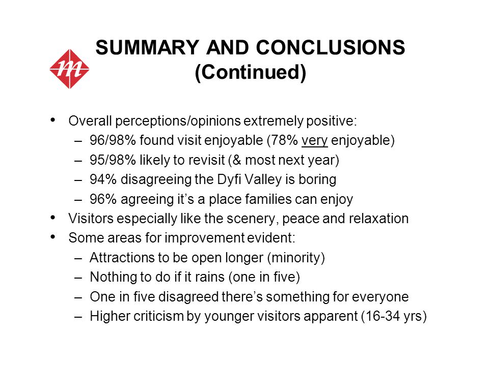 SUMMARY AND CONCLUSIONS (Continued) Overall perceptions/opinions extremely positive: –96/98% found visit enjoyable (78% very enjoyable) –95/98% likely to revisit (& most next year) –94% disagreeing the Dyfi Valley is boring –96% agreeing it's a place families can enjoy Visitors especially like the scenery, peace and relaxation Some areas for improvement evident: –Attractions to be open longer (minority) –Nothing to do if it rains (one in five) –One in five disagreed there's something for everyone –Higher criticism by younger visitors apparent (16-34 yrs)