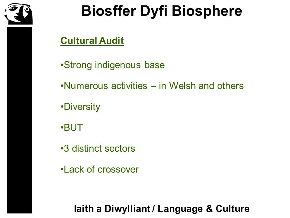 Biosffer Dyfi Biosphere Iaith a Diwylliant / Language & Culture Strong indigenous base Numerous activities – in Welsh and others Diversity BUT 3 distinct sectors Lack of crossover Cultural Audit