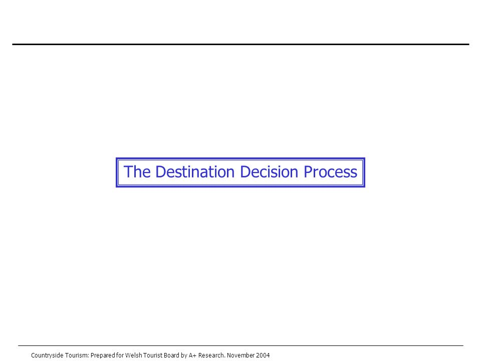 The Destination Decision Process Countryside Tourism: Prepared for Welsh Tourist Board by A+ Research.