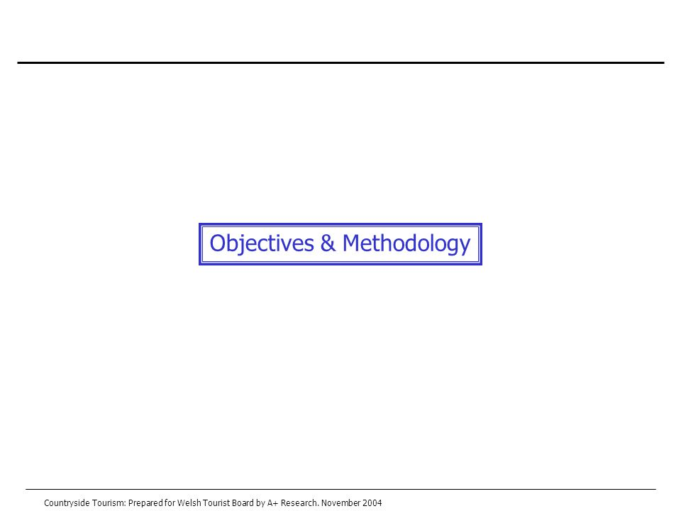 Objectives & Methodology Countryside Tourism: Prepared for Welsh Tourist Board by A+ Research.