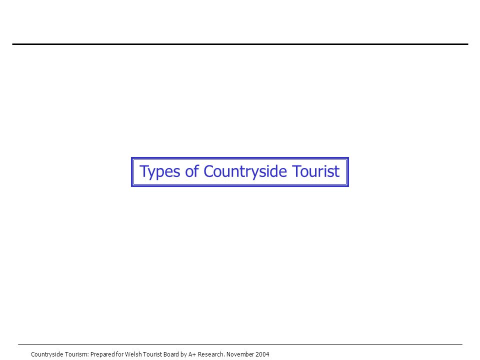 Types of Countryside Tourist Countryside Tourism: Prepared for Welsh Tourist Board by A+ Research.