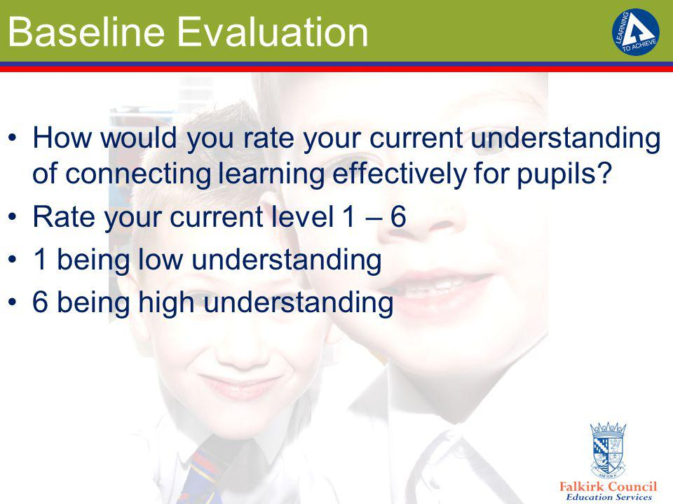 Baseline Evaluation How would you rate your current understanding of connecting learning effectively for pupils? Rate your current level 1 – 6 1 being