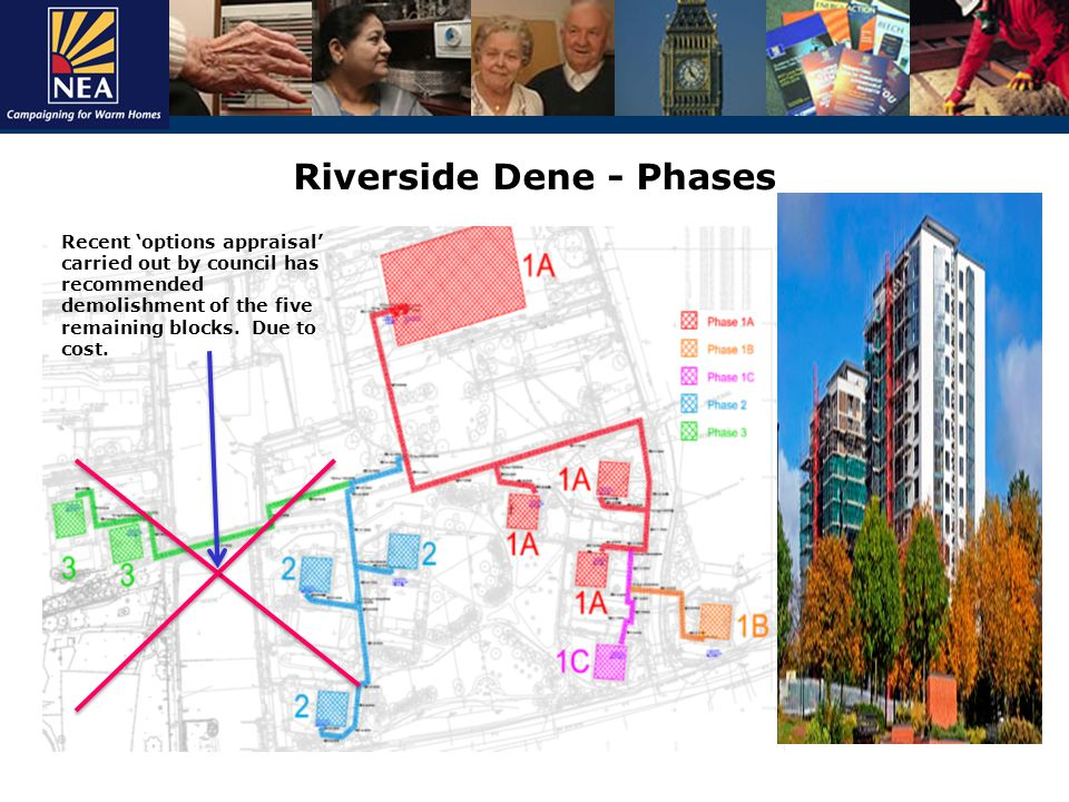 Riverside Dene - Phases Recent 'options appraisal' carried out by council has recommended demolishment of the five remaining blocks.