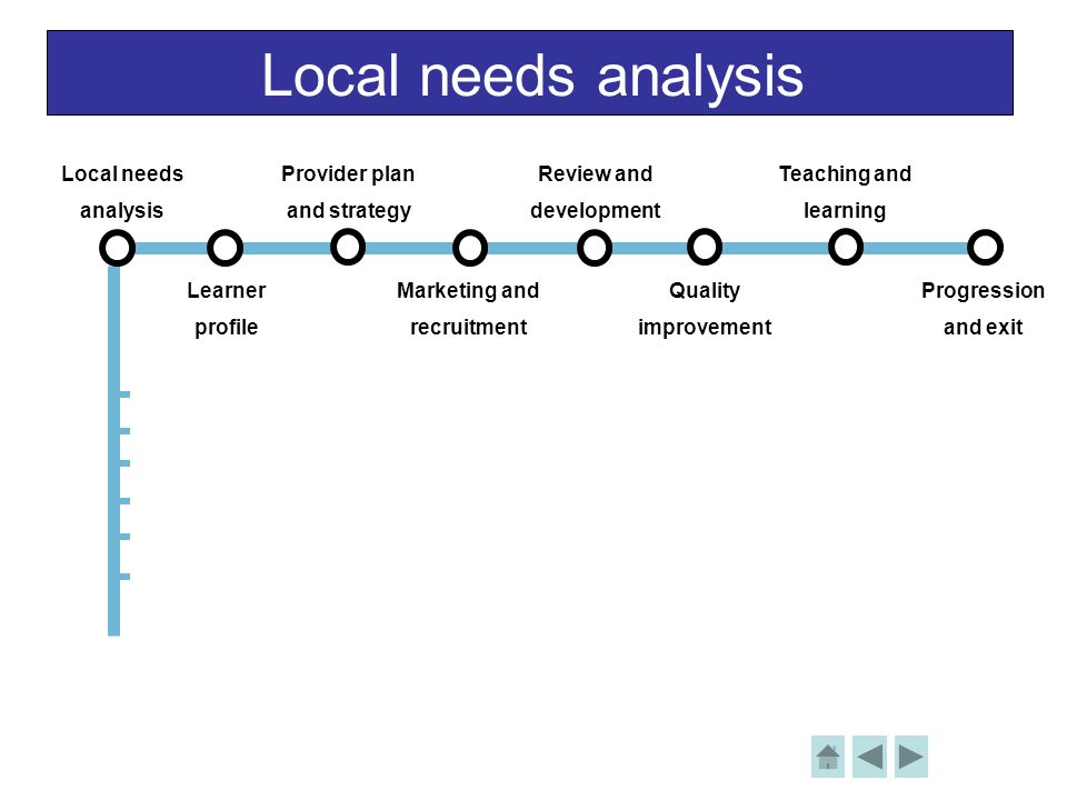 Local needs analysis Local needs analysis Learner profile Provider plan and strategy Review and development Teaching and learning Progression and exit