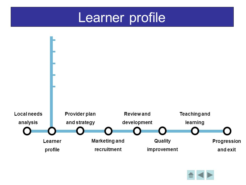 Learner profile Local needs analysis Learner profile Provider plan and strategy Review and development Teaching and learning Progression and exit Marketing and recruitment Quality improvement