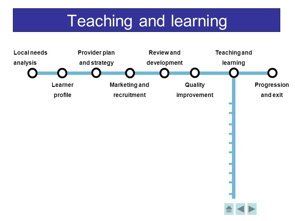 Teaching and learning Local needs analysis Learner profile Provider plan and strategy Review and development Teaching and learning Progression and exi