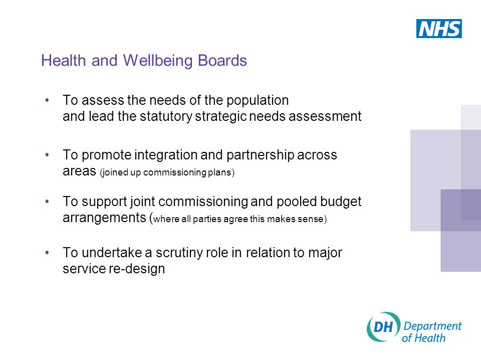 Health and Wellbeing Boards To assess the needs of the population and lead the statutory strategic needs assessment To promote integration and partnership across areas (joined up commissioning plans) To support joint commissioning and pooled budget arrangements ( where all parties agree this makes sense) To undertake a scrutiny role in relation to major service re-design