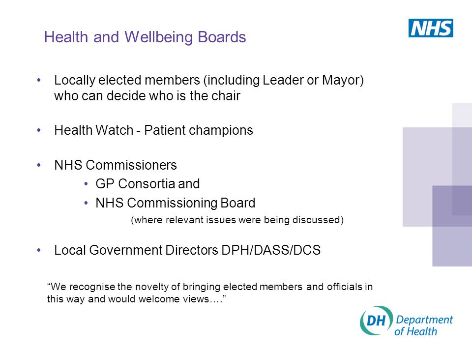 Health and Wellbeing Boards Locally elected members (including Leader or Mayor) who can decide who is the chair Health Watch - Patient champions NHS Commissioners GP Consortia and NHS Commissioning Board (where relevant issues were being discussed) Local Government Directors DPH/DASS/DCS We recognise the novelty of bringing elected members and officials in this way and would welcome views….