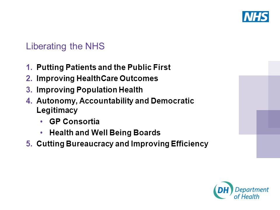 Liberating the NHS 1.Putting Patients and the Public First 2.Improving HealthCare Outcomes 3.Improving Population Health 4.Autonomy, Accountability an