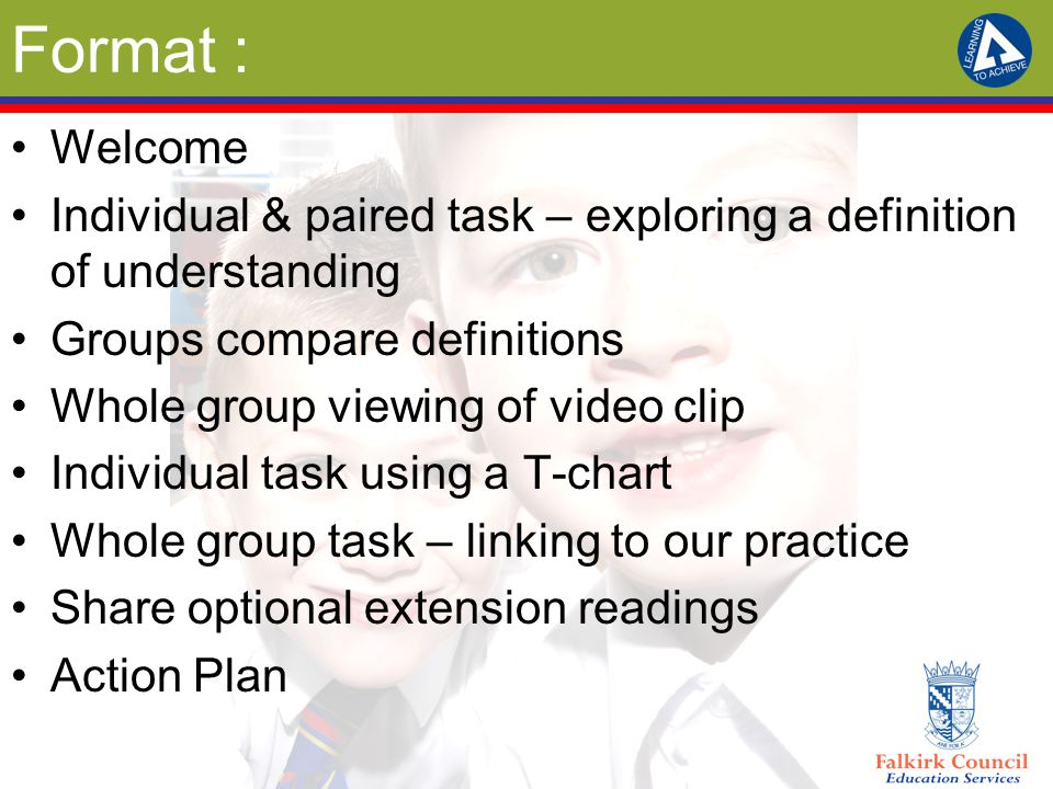 Format : Welcome Individual & paired task – exploring a definition of understanding Groups compare definitions Whole group viewing of video clip Individual task using a T-chart Whole group task – linking to our practice Share optional extension readings Action Plan