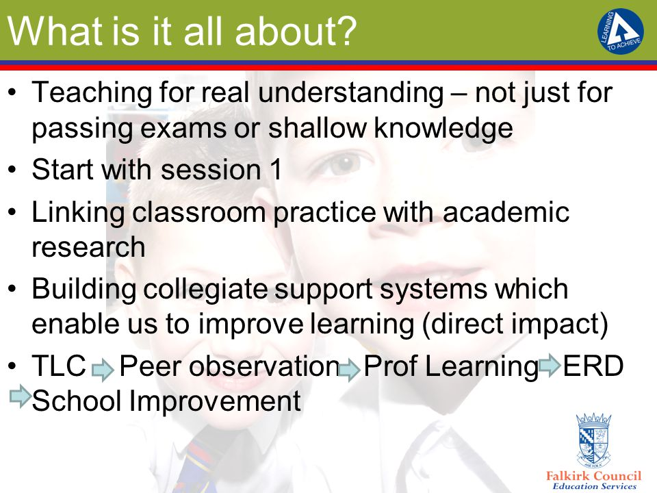 What is it all about? Teaching for real understanding – not just for passing exams or shallow knowledge Start with session 1 Linking classroom practic