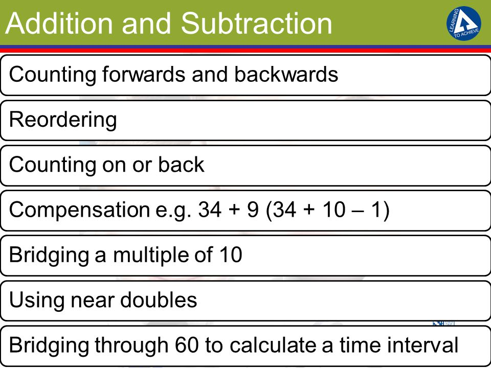 Addition and Subtraction Counting forwards and backwardsReorderingCounting on or backCompensation e.g.