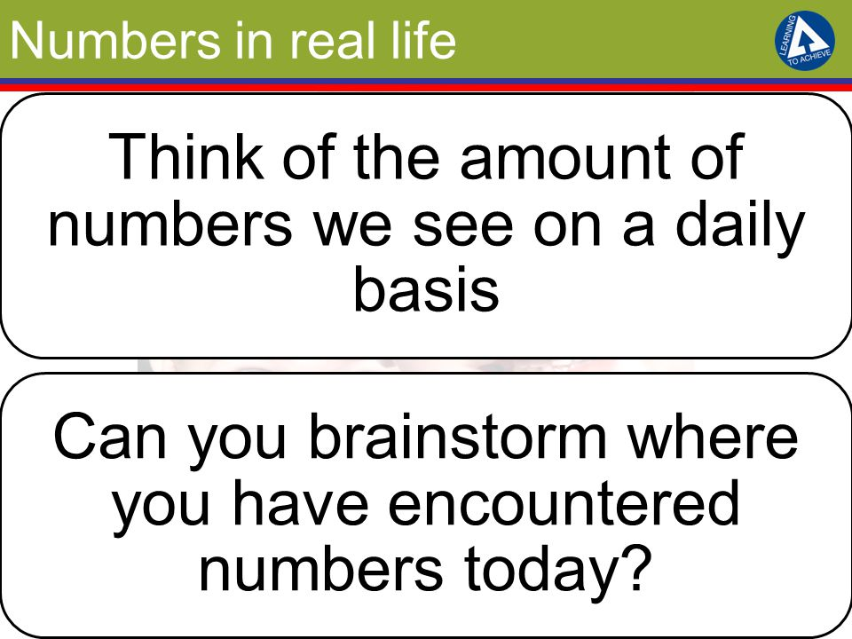 Numbers in real life Think of the amount of numbers we see on a daily basis Can you brainstorm where you have encountered numbers today?