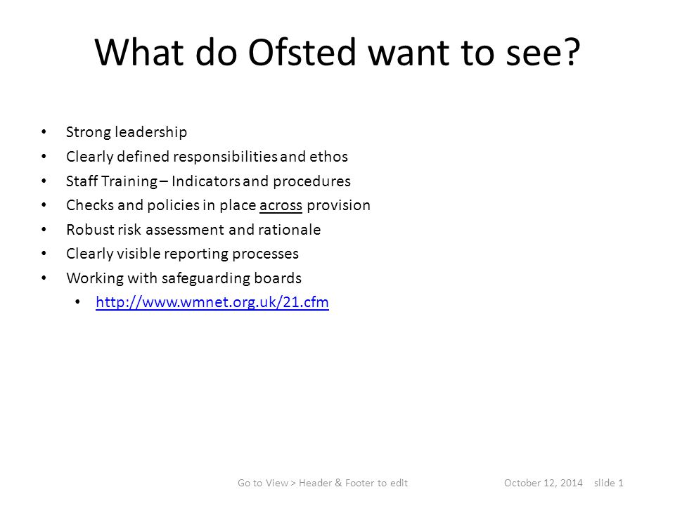 What do Ofsted want to see.
