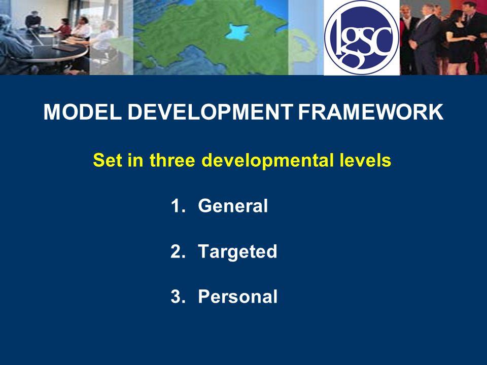 MODEL DEVELOPMENT FRAMEWORK Set in three developmental levels 1.General 2.Targeted 3.Personal