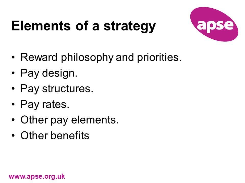 Elements of a strategy Reward philosophy and priorities.