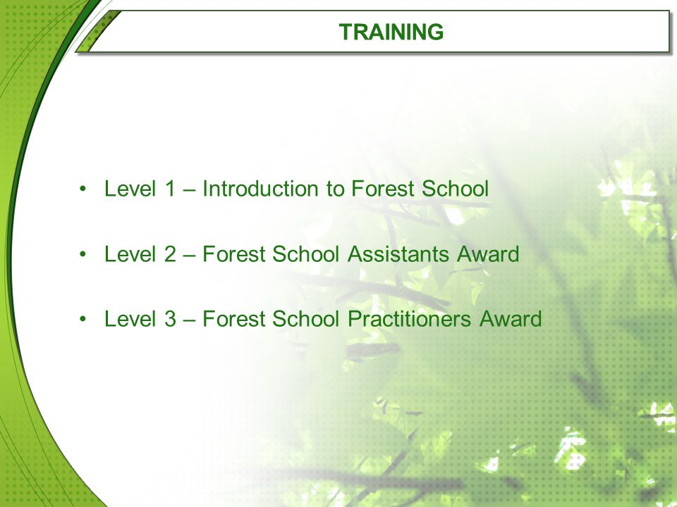TRAINING Level 1 – Introduction to Forest School Level 2 – Forest School Assistants Award Level 3 – Forest School Practitioners Award