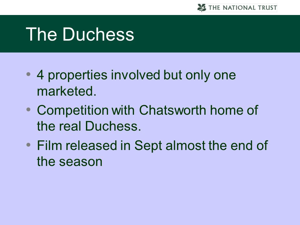 4 properties involved but only one marketed. Competition with Chatsworth home of the real Duchess.