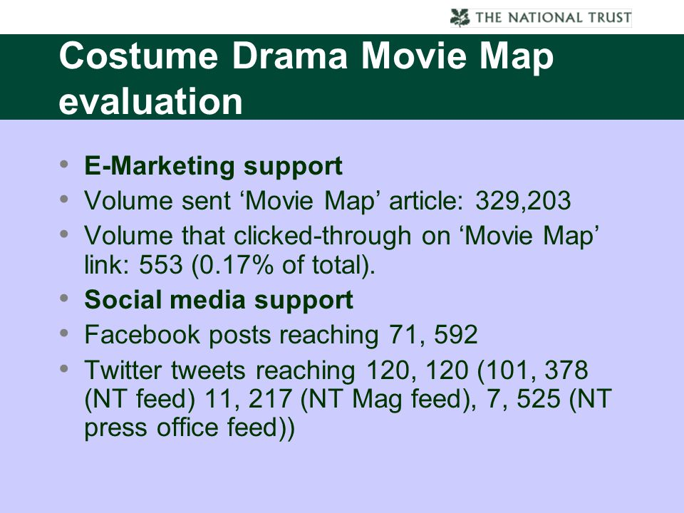 Costume Drama Movie Map evaluation E-Marketing support Volume sent 'Movie Map' article: 329,203 Volume that clicked-through on 'Movie Map' link: 553 (0.17% of total).