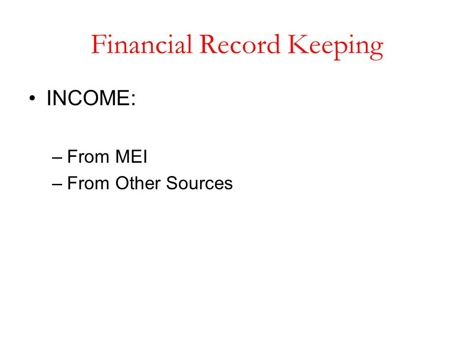 Financial Record Keeping INCOME: –From MEI –From Other Sources