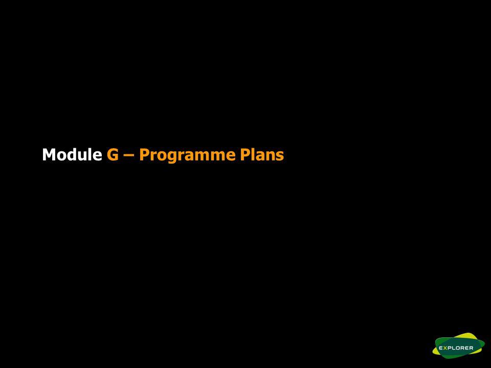 Module G – Programme Plans