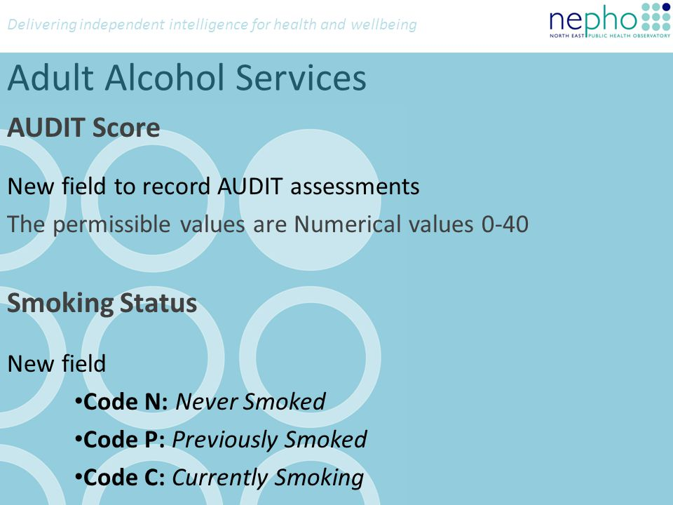 Delivering independent intelligence for health and wellbeing Adult Alcohol Services AUDIT Score New field to record AUDIT assessments The permissible