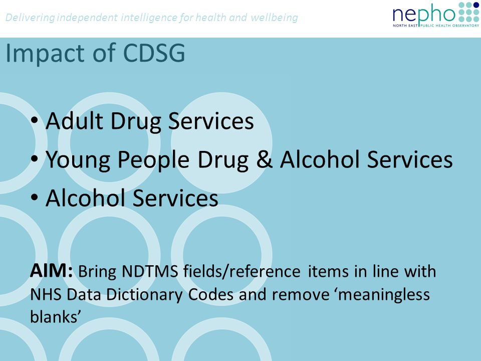 Delivering independent intelligence for health and wellbeing Impact of CDSG Adult Drug Services Young People Drug & Alcohol Services Alcohol Services