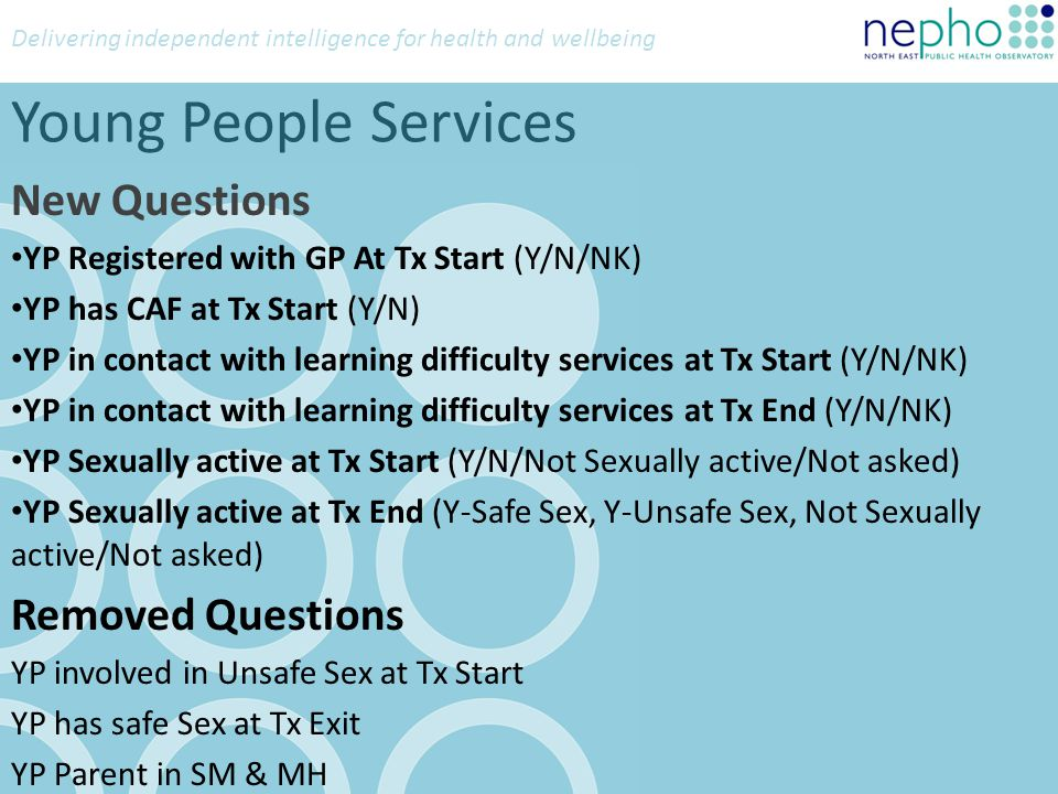 Delivering independent intelligence for health and wellbeing Young People Services New Questions YP Registered with GP At Tx Start (Y/N/NK) YP has CAF