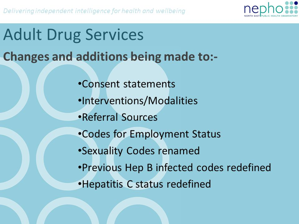 Delivering independent intelligence for health and wellbeing Adult Alcohol Services Referral Sources Code 5 Arrest Referral/DIP Codes 63,64,65 Code 63: Arrest Referral Code 64: DIP Code 65: Criminal Justice Other New Code 56: Employer New Code 57: ATR (Alcohol Treatment Requirement) New Code 58: Peer i.e.