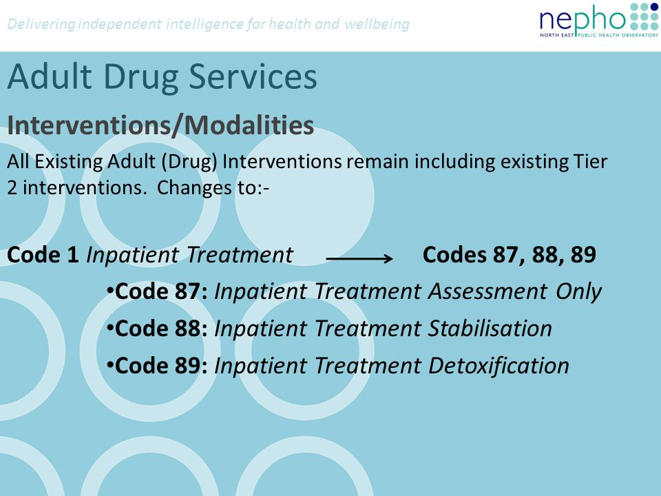 Delivering independent intelligence for health and wellbeing Adult Alcohol Services Treatment Goal New field Code 1: Abstinence Code 2: Reduced Controlled Use Code U: Unknown Drinking Days more than binge limit New field to record the number of days when clients drink over the binge limit (?) The permissable values are Numerical values 0-28