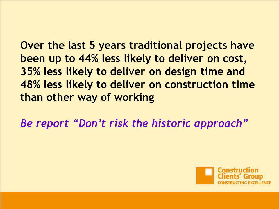 Over the last 5 years traditional projects have been up to 44% less likely to deliver on cost, 35% less likely to deliver on design time and 48% less likely to deliver on construction time than other way of working Be report Don't risk the historic approach