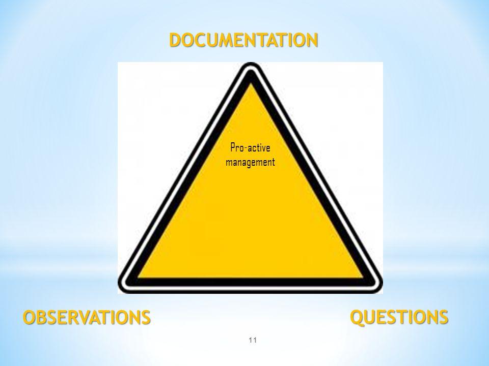 DOCUMENTATION QUESTIONS OBSERVATIONS Pro-active management 11