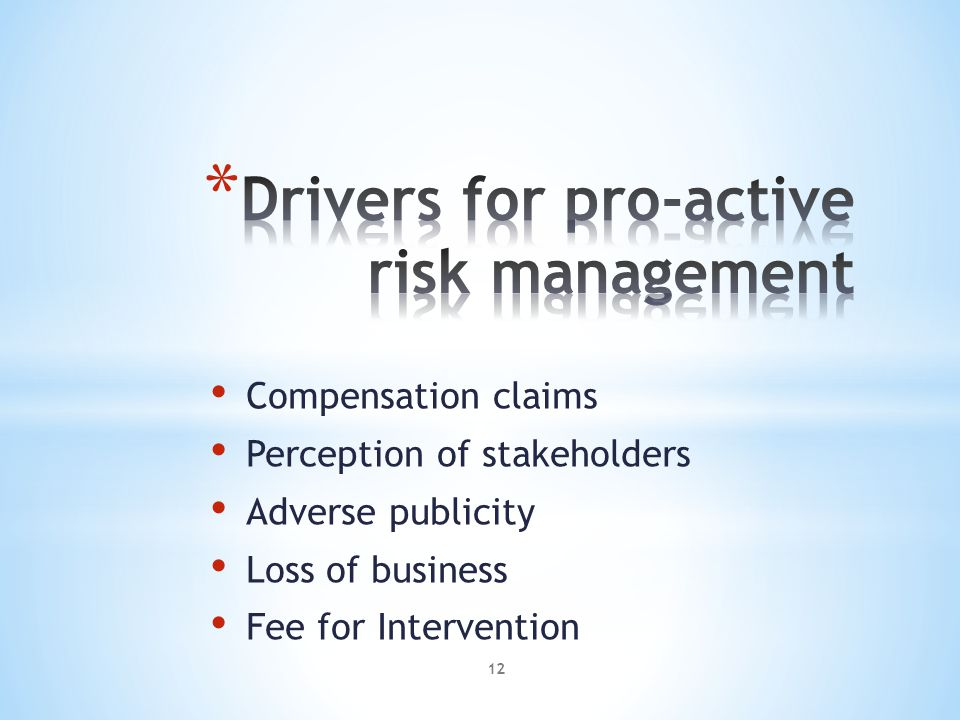 Compensation claims Perception of stakeholders Adverse publicity Loss of business Fee for Intervention 12