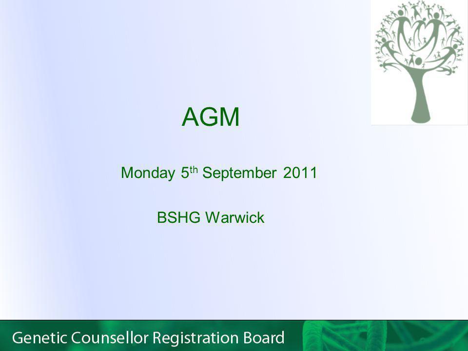 AGM Monday 5 th September 2011 BSHG Warwick