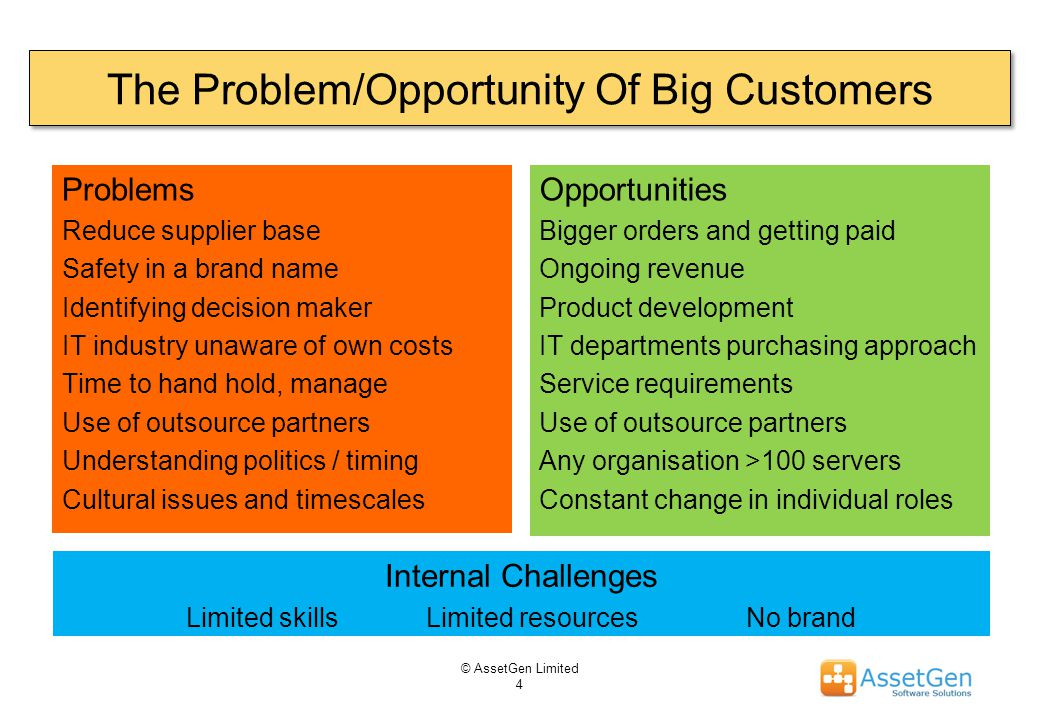 The Problem/Opportunity Of Big Customers Problems Reduce supplier base Safety in a brand name Identifying decision maker IT industry unaware of own costs Time to hand hold, manage Use of outsource partners Understanding politics / timing Cultural issues and timescales Opportunities Bigger orders and getting paid Ongoing revenue Product development IT departments purchasing approach Service requirements Use of outsource partners Any organisation >100 servers Constant change in individual roles © AssetGen Limited 4 Internal Challenges Limited skills Limited resources No brand