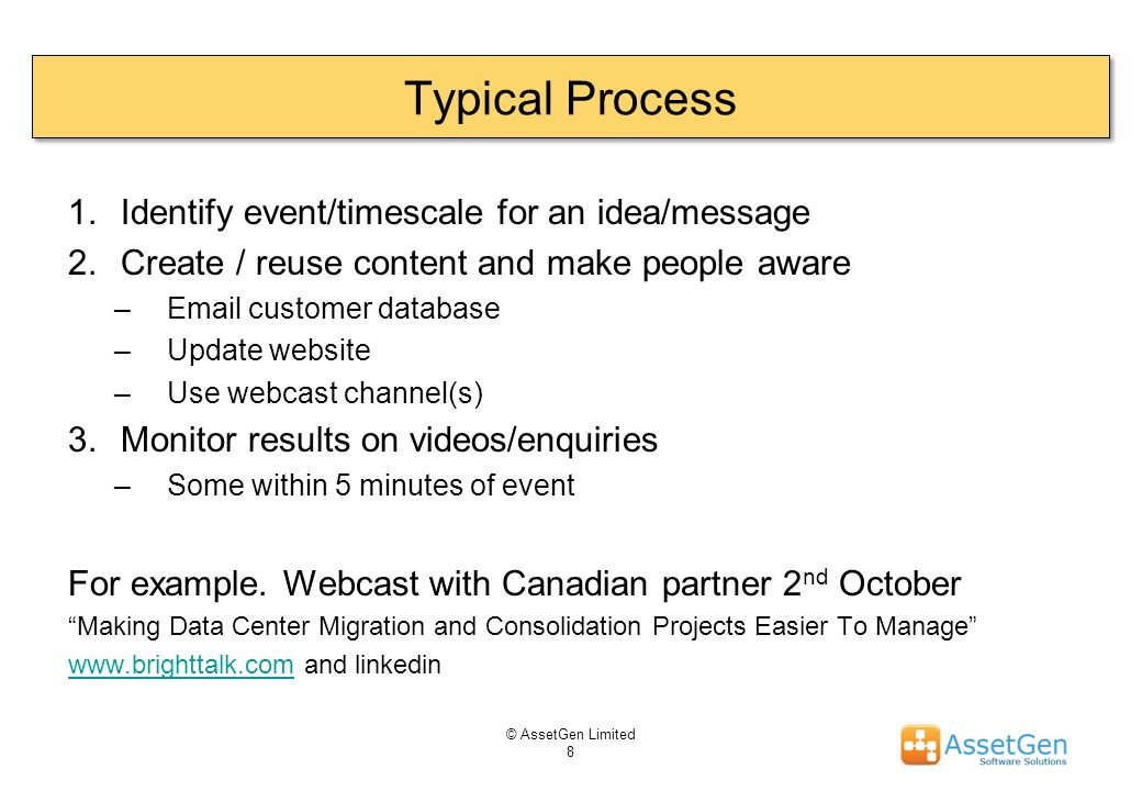 Typical Process © AssetGen Limited 8 1.Identify event/timescale for an idea/message 2.Create / reuse content and make people aware –Email customer dat
