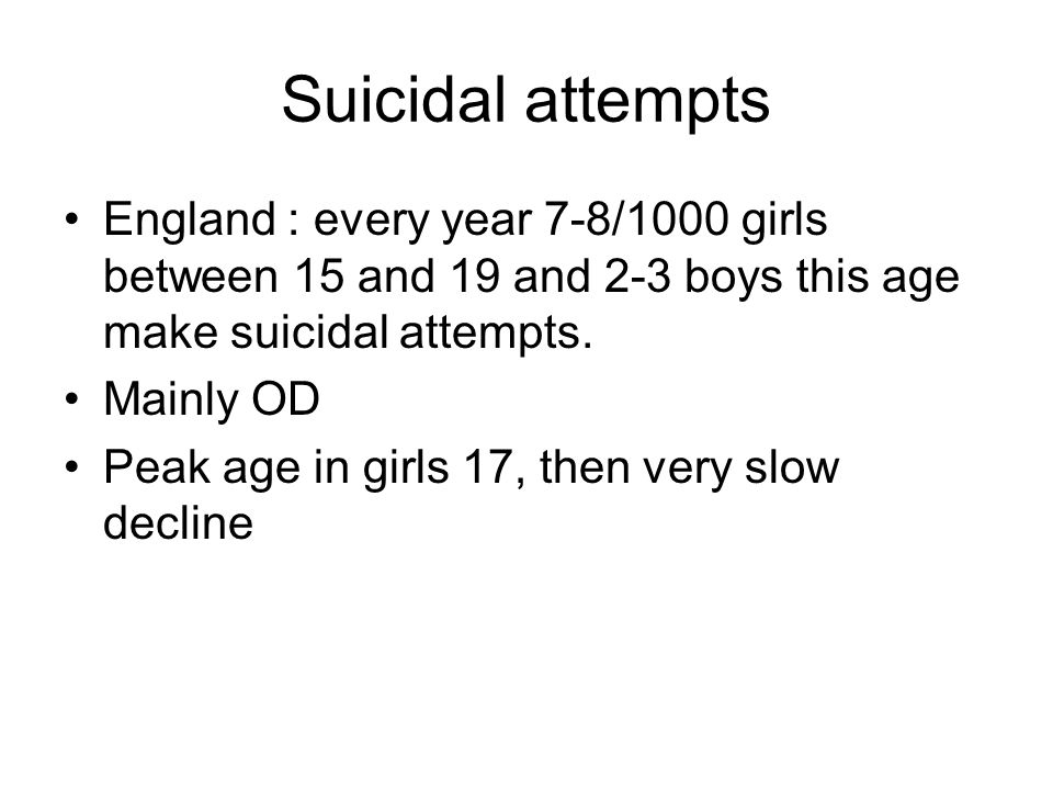 Suicidal attempts England : every year 7-8/1000 girls between 15 and 19 and 2-3 boys this age make suicidal attempts.