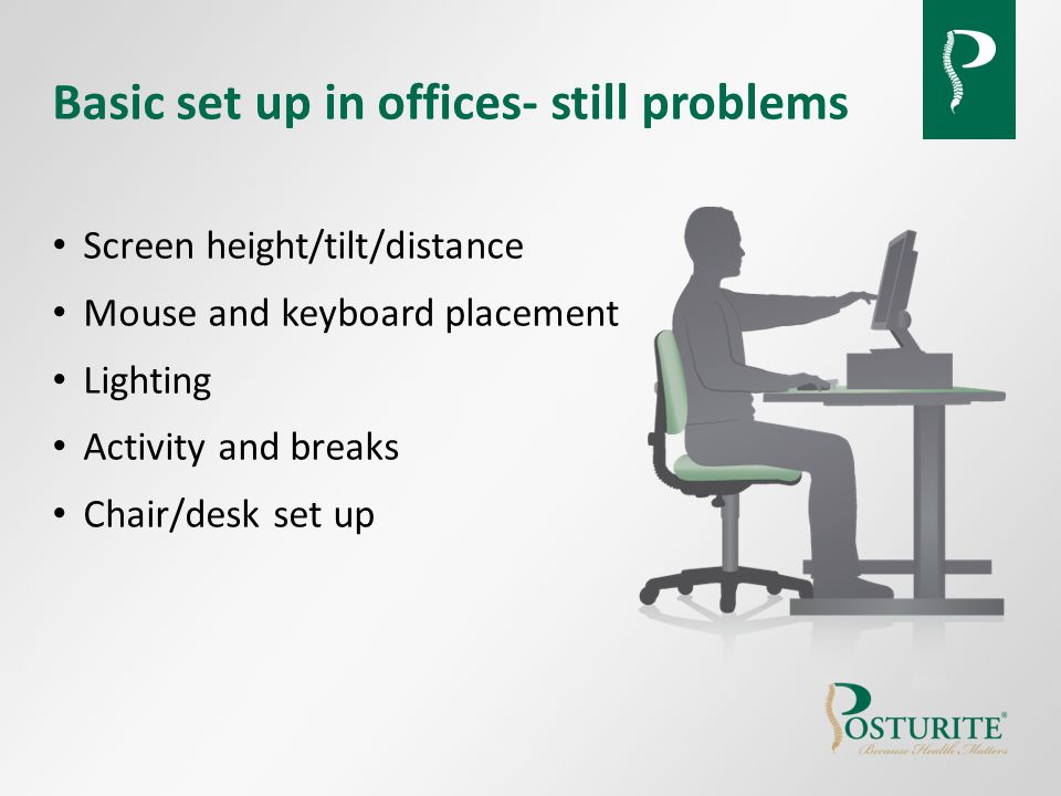 Basic set up in offices- still problems Screen height/tilt/distance Mouse and keyboard placement Lighting Activity and breaks Chair/desk set up