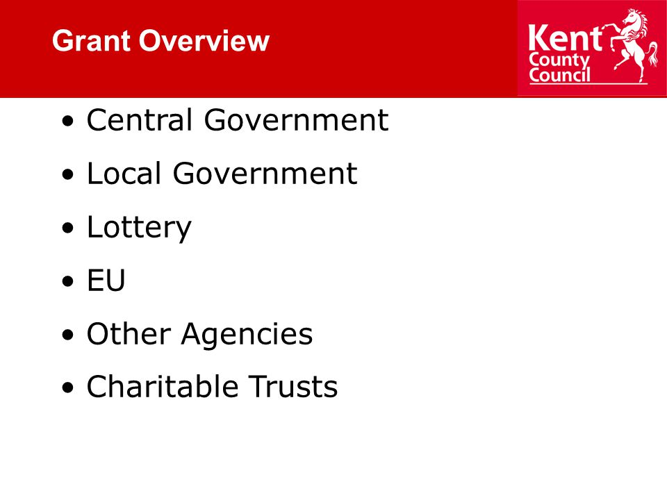 Grant Overview Central Government Local Government Lottery EU Other Agencies Charitable Trusts