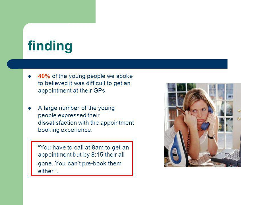 finding 40% of the young people we spoke to believed it was difficult to get an appointment at their GPs A large number of the young people expressed their dissatisfaction with the appointment booking experience.