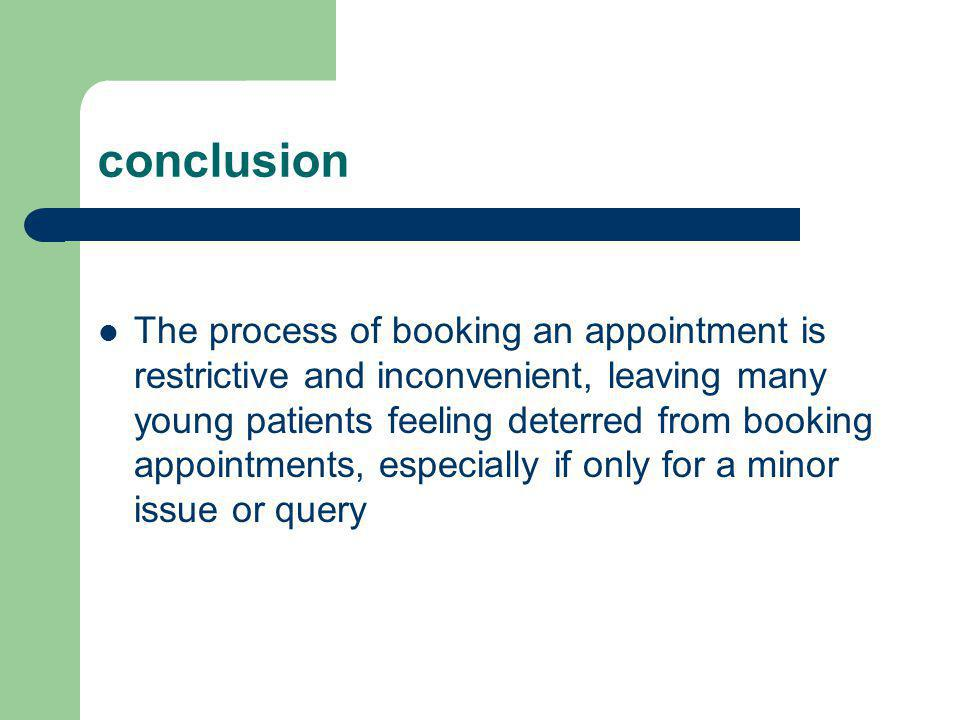 conclusion The process of booking an appointment is restrictive and inconvenient, leaving many young patients feeling deterred from booking appointments, especially if only for a minor issue or query