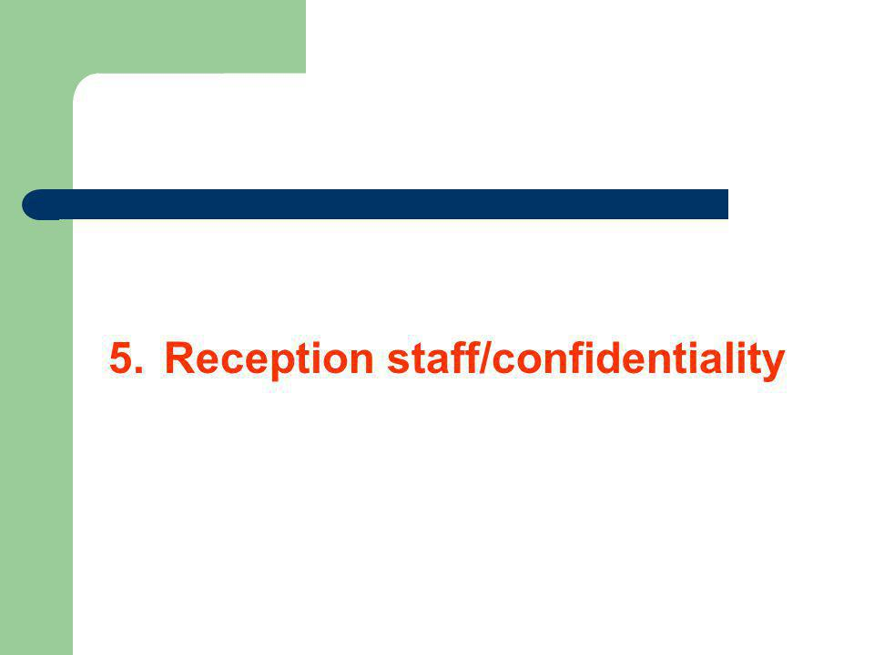 5. Reception staff/confidentiality