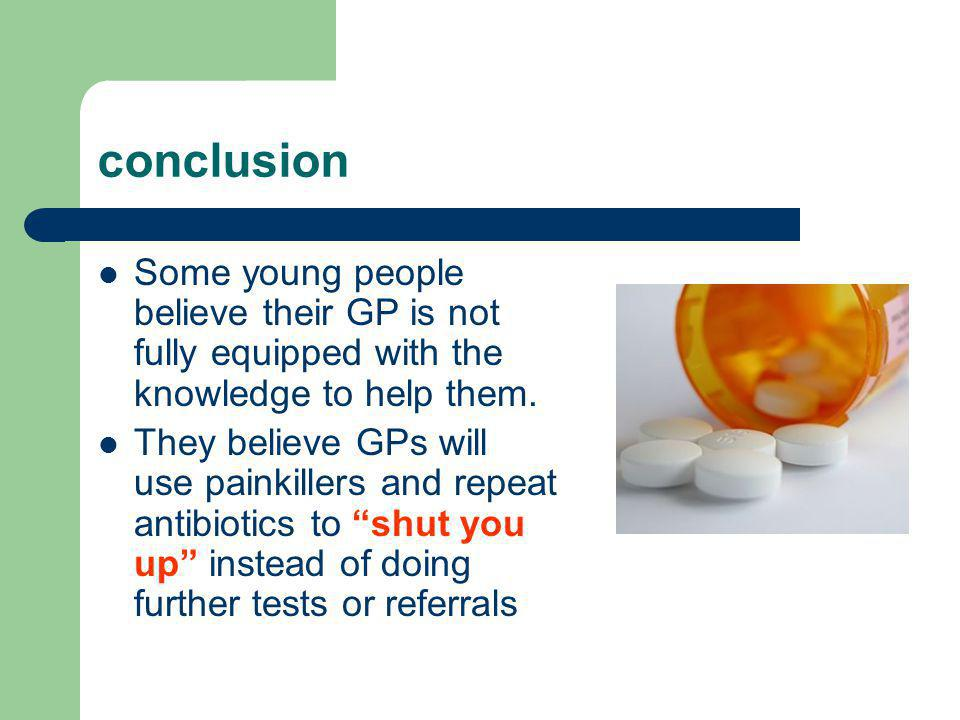 conclusion Some young people believe their GP is not fully equipped with the knowledge to help them.