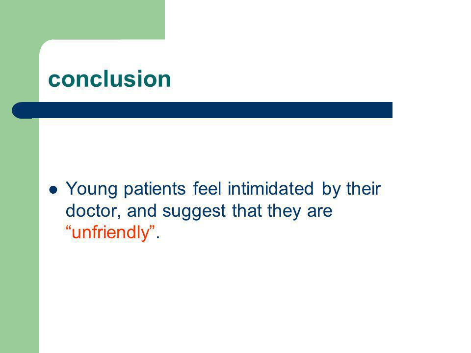 conclusion Young patients feel intimidated by their doctor, and suggest that they are unfriendly .