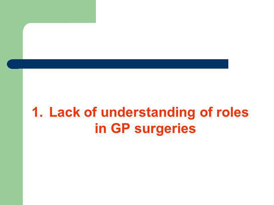 1. Lack of understanding of roles in GP surgeries
