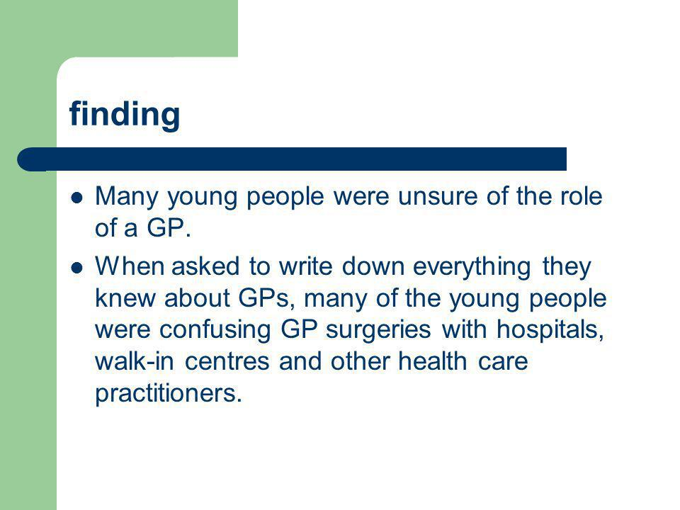 finding Many young people were unsure of the role of a GP.