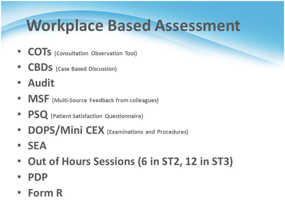 Workplace Based Assessment COTs (Consultation Observation Tool) CBDs (Case Based Discussion) Audit MSF (Multi-Source Feedback from colleagues) PSQ (Pa