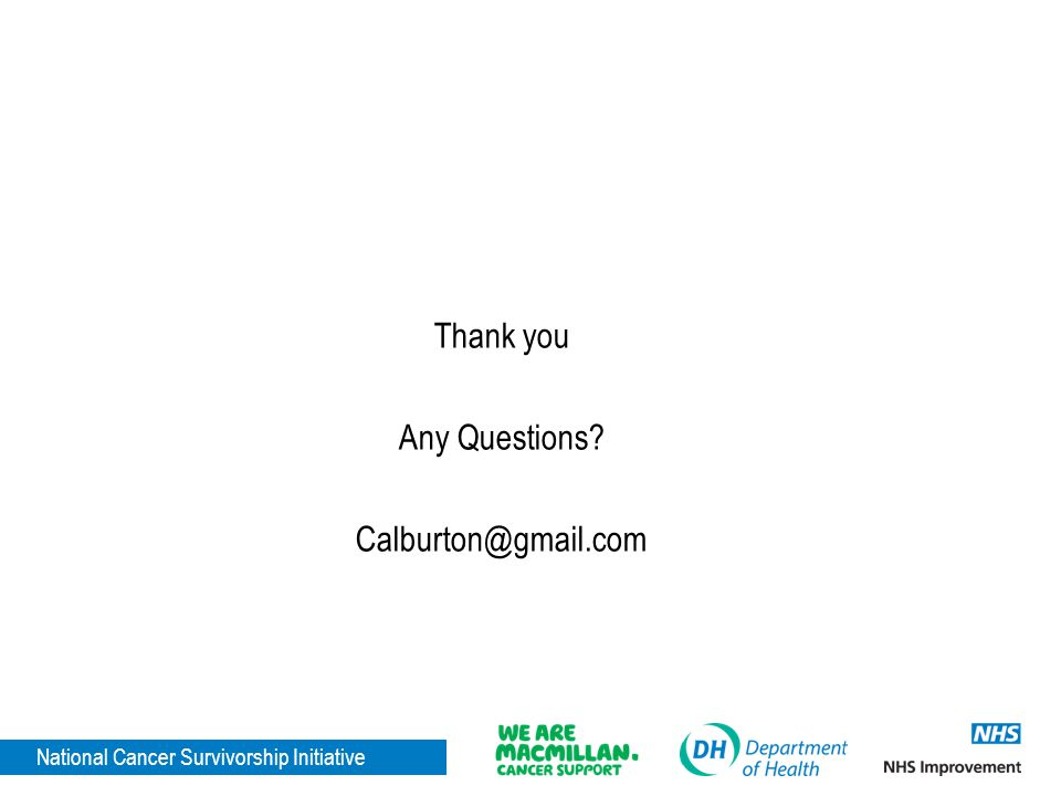 National Cancer Survivorship Initiative Thank you Any Questions? Calburton@gmail.com