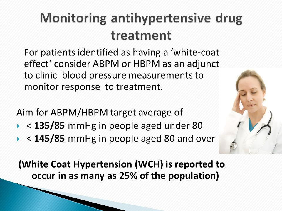 For patients identified as having a 'white-coat effect' consider ABPM or HBPM as an adjunct to clinic blood pressure measurements to monitor response